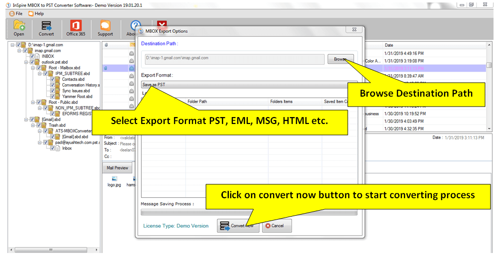 Inspire MBOX to PST Converter full screenshot