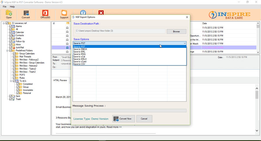 Inspire NSF To PST Converter Software full screenshot